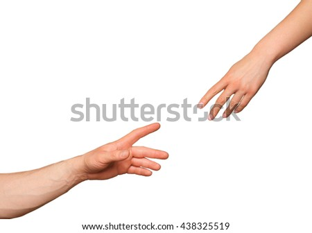helping hand and hands praying  on white - stock photo