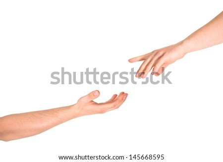 Helping hand caucasian hand gesture composition isolated over white background - stock photo