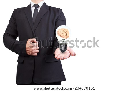 helping hand holding brain inside a light bulb idea concept for creativity on white background with clipping path - stock photo