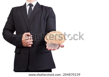helping hand holding side view human brain idea concept for creativity - stock photo