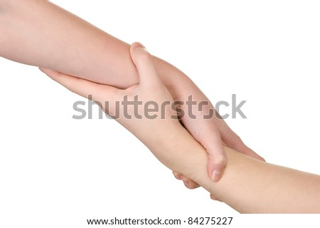 Helping hand. Isolated over white background. - stock photo