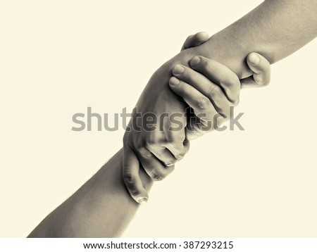 helping hand, isolated, toned image - stock photo