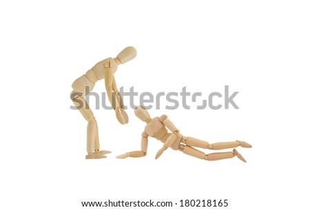Helping Hand Mannequin bending over to help a fallen Manikin isolated on white background