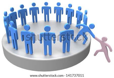 Helping hand member to join up with large social group or company - stock photo