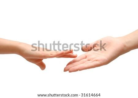 Helping hand on white isolated backgrund - stock photo