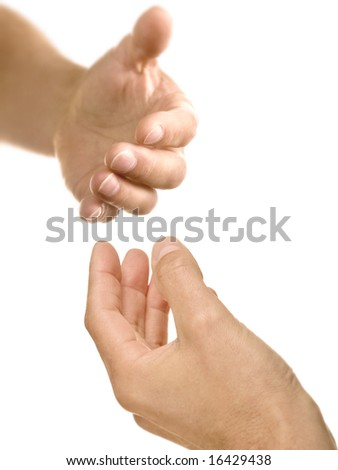 Helping hand reaching out to offer support and assistance - stock photo