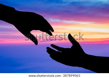 helping hand silhouette on nature background, business concept - stock photo