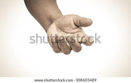helping hand tone vintage - stock photo