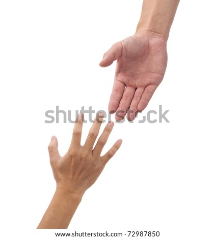 helping hands isolated on the white background - stock photo
