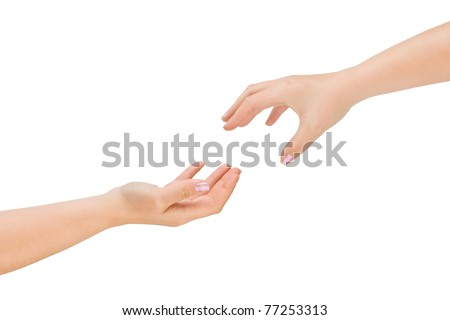 Helping hands isolated on white background - stock photo