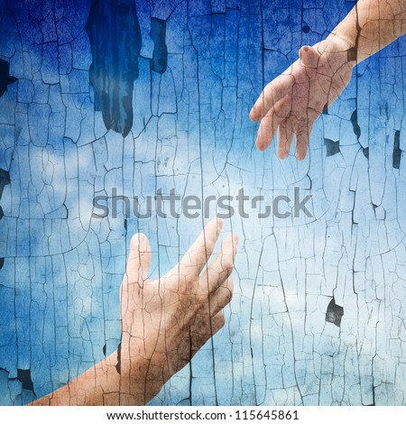 helping hands of vintage background - stock photo