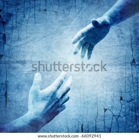 helping hands of vintage background