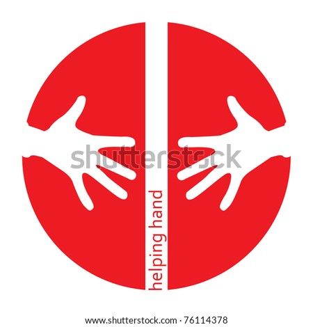 Helping hands red icon with space for text - stock photo