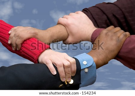 Helping Hands - sky background - stock photo