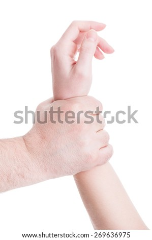 Helpless woman arm grab by man hand. Domestic violence concept isolated on white background - stock photo
