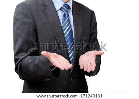 Helplessness of a businessman who's showing his bare hands put down