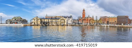 HELSINGBORG, SWEDEN - APRIL 25: A panoramic image of the port in Helsingborg. A city in south western Sweden. April 25, 2016, Helsingborg, Sweden. - stock photo