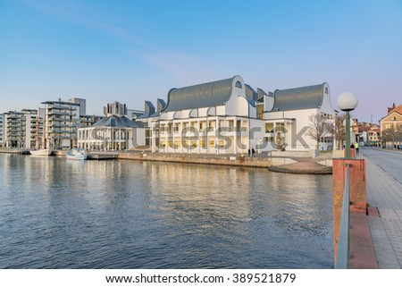 HELSINGBORG, SWEDEN - FEBRUARY 16, 2016: View of Dunkers Art Museum and gallery. The gallery is located on the waterfront in Helsingborg city center. February 16, 2016. - stock photo