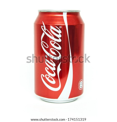 HELSINGBORG, SWEDEN - January 21, 2014: 0,33l Coca-Cola can Isolated On White Background. Coca-Cola is a carbonated soft drink sold in shops, restaurants, and vending machines around the globe. - stock photo