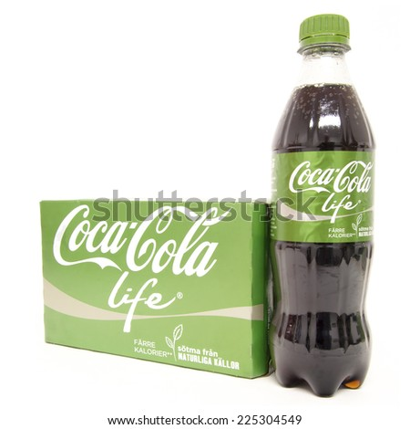 HELSINGBORG, SWEDEN - October 20th 2014: Coca-Cola life selection Isolated On White Background. Coca-Cola is a carbonated soft drink sold in shops, restaurants, and vending machines around the globe. - stock photo