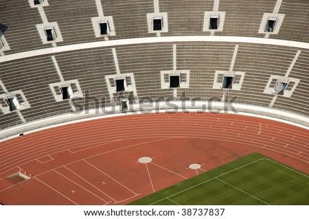 Helsinki athletic stadium seen from above - stock photo