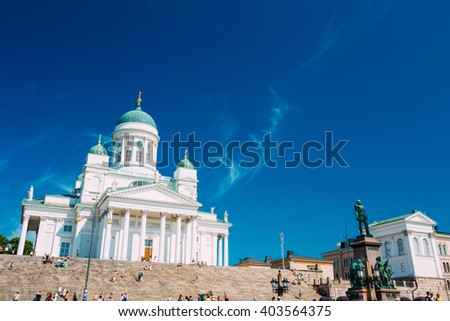 Helsinki Cathedral, Helsinki, Finland. The Facade Fronted By A Statue Of Emperor Alexander II Of Russia. Travel landmark