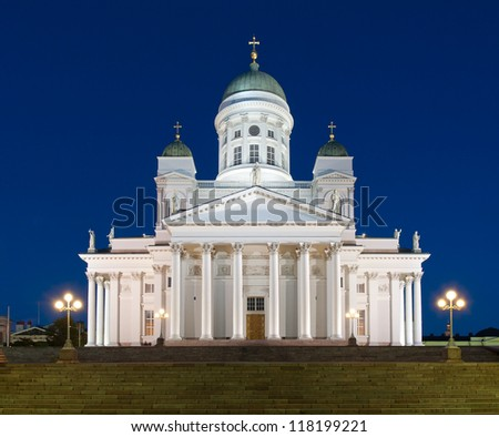 Helsinki Cathedral in a summer night - stock photo