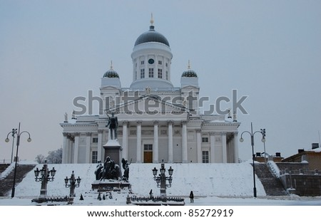 Helsinki cathedral in Finland .Winter - stock photo
