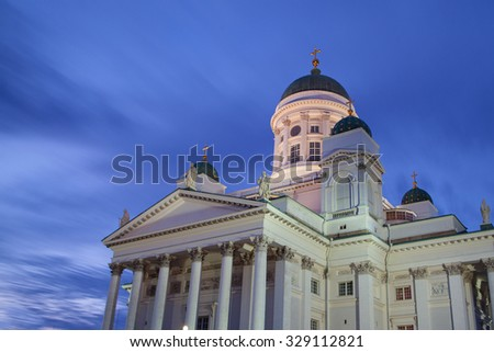 Helsinki cathedral is situated on a senate square in the Helsinki city centre.