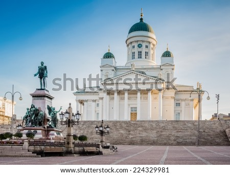 Helsinki Cathedral on early morning summer sun light. - stock photo