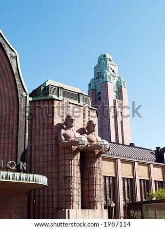 Helsinki central railway station, close-up - stock photo
