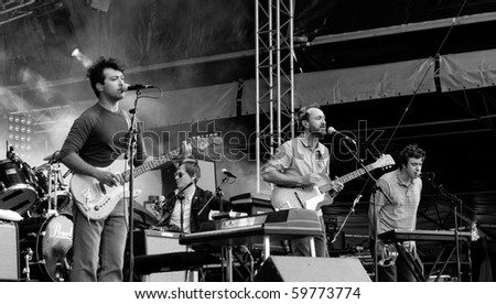 HELSINKI, FINLAND - AUGUST 13: American rock music band Broken Bells live on stage at Flow 2010 Festival on August 13, 2010 in Helsinki, Finland