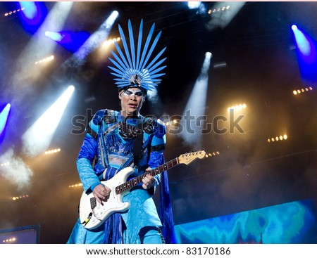 HELSINKI, FINLAND - AUGUST 13: Australian electronic music duo Empire of the Sun performs live on stage August 13, 2011 at Flow 2011 Festival in Helsinki, Finland. - stock photo