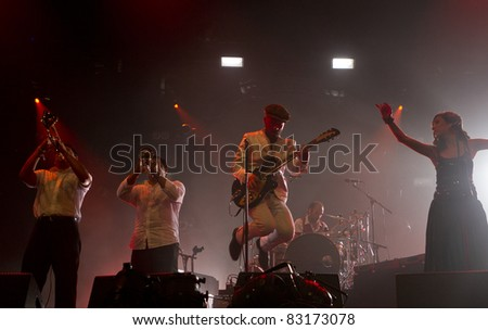 HELSINKI, FINLAND - AUGUST 13: German DJ and producer of Romanian descent Shantel & Bucovina Club Orkestar  performs on August 13, 2011 at Flow 2011 Festival in Helsinki, Finland.
