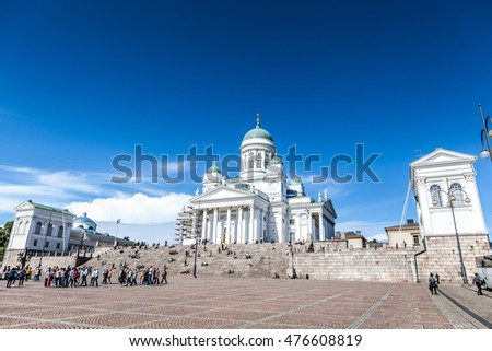 Helsinki, Finland, August 14, 2016 Lutheran cathedral and monument to Russian tsar Alexander II on the Senate Square