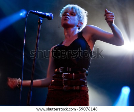 HELSINKI, FINLAND - AUGUST 14: Swedish recording artist and singer-songwriter Robyn live on stage at Flow 2010 Festival on August 14, 2010 in Helsinki, Finland - stock photo