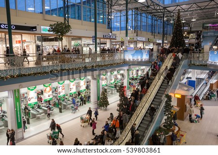 HELSINKI, FINLAND - CIRCA DEC, 2016: The central hall with a grocery store Prizma is in the Jumbo shopping mall during Christmas holidays. The Jumbo megamall is a large retailer in Helsinki city