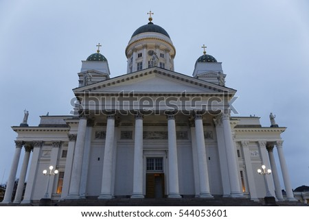 HELSINKI, FINLAND-December 15, 2016: Helsinki cathedral Tuomiokirkko on a cold winter day.