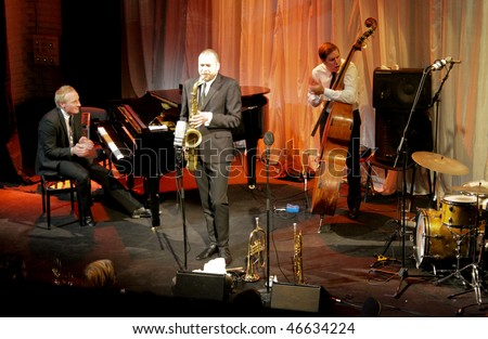 "HELSINKI, FINLAND - FEBRUARY 11: The Five Corners Quintet - famous finnish modern jazz band - live recording at restaurant ""Kapsakki"" February 11, 2010 in Helsinki, Finland"