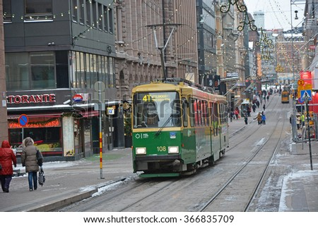 HELSINKI, FINLAND - JANUARY 10, 2016: Tram at the Aleksanterinkatu, street in centre of the Helsinki