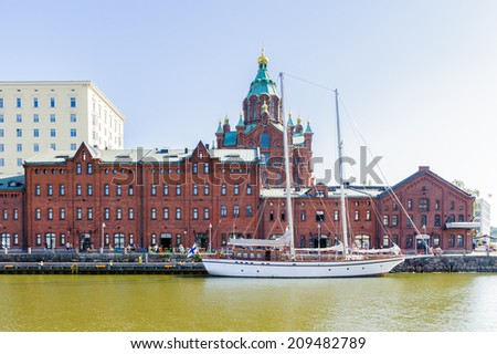 HELSINKI, FINLAND - JULY 26, 2014: Boats parked in the SPuth Port in Helsinki, Finland. Helsinki was chosen to be the World Design Capital for 2012