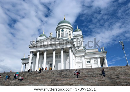 HELSINKI, FINLAND - JULY 6, 2015: Cathedral of St. Nicholas (Cathedral Basilica)