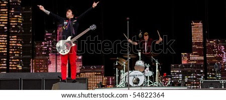 HELSINKI,FINLAND-JUNE 8:American Punk Trio Green Day, one of world's biggest rock bands,live on stage on 21st Century Breakdown World Tour at Kylasaari in Finland on June 8, 2010 in Helsinki,Finland - stock photo