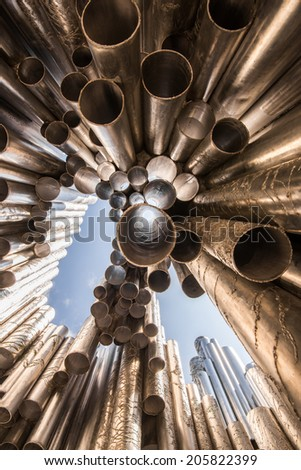 HELSINKI, FINLAND - JUNE 8, 2014: Sibelius Monument on June 8, 2014 in Helsinki, Finland. The monument of the Finnish composer Jean Sibelius was designed by Eila Hiltunen and inaugurated in 1967. - stock photo