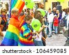 HELSINKI, FINLAND - JUNE 30: Unidentified people take part in the annual Helsinki Pride gay parade in Helsinki, Finland on June 30, 2012. - stock photo