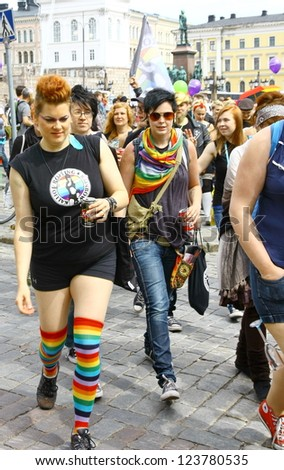 HELSINKI, FINLAND - JUNE 30: Unidentified people take part in the annual Helsinki Pride gay parade in Helsinki, Finland on June 30, 2012.