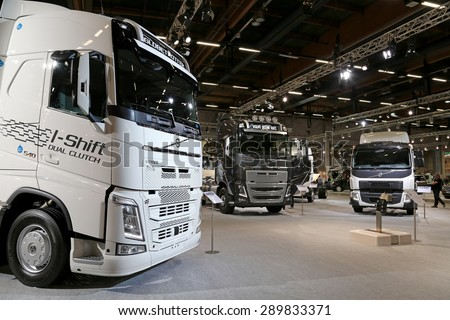 HELSINKI, FINLAND - JUNE 11, 2015:  Volvo Trucks presents their Euro 6 truck range at Logistics Transport 2015. - stock photo