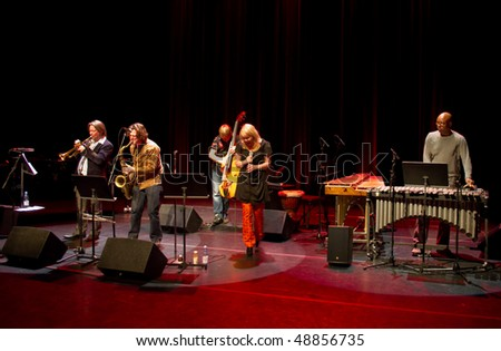 "HELSINKI, FINLAND - MARCH 15: Finnish-British ""Burn Out Mama"" jazz band live on stage at Malmitalo Concert Hall on March 15, 2010 in Helsinki, Finland"