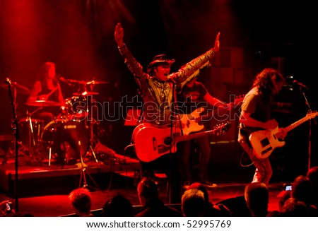 HELSINKI,FINLAND-MAY 11:American Rock/Country rock band Jason & the Scorchers from Nashville,Tennessee, USA live on stage at Tavastia,Club-#1 rock venue in Finland-on May 11,2010 in Helsinki,Finland