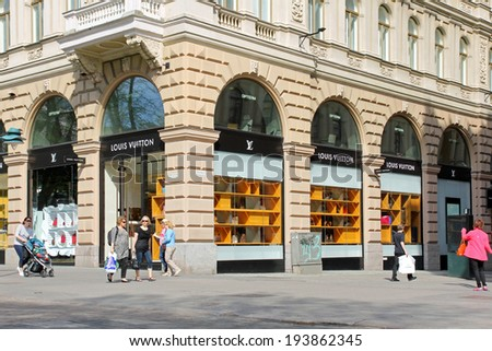 HELSINKI, FINLAND - MAY 20, 2014: Louis Vuitton Store in Central Helsinki. For six consecutive years (2006-2012), Louis Vuitton has been named the world's most valuable luxury brand. - stock photo